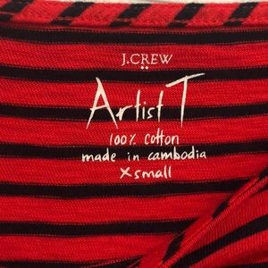 J. Crew Tops - J. Crew Red and Navy Striped Artist T